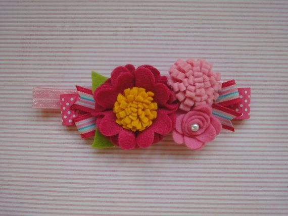 Flower shop headband pink felt flower headband  by Alibl on Etsy, $11.50