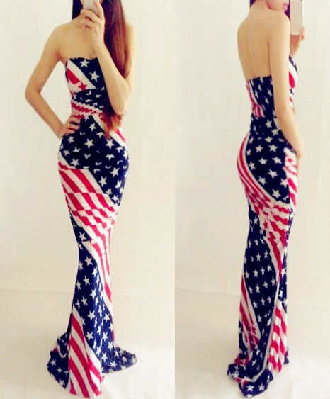 Rockbaby cars banquet party american flag sexy tube top ultra long strapless dress $60.13
