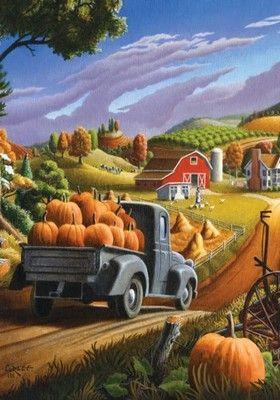 Fall Countryside Farm Pumpkin Harvest Thanksgiving Garden