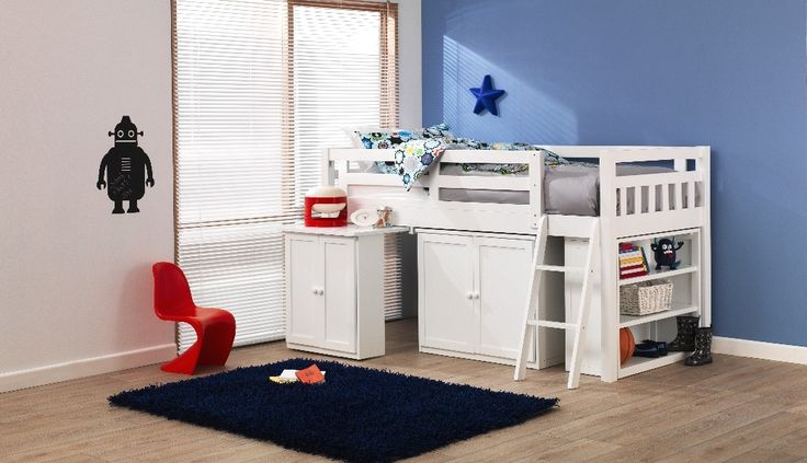 Forty Winks Aztec white wooden children's bedroom suite with red, white and black linens and décor