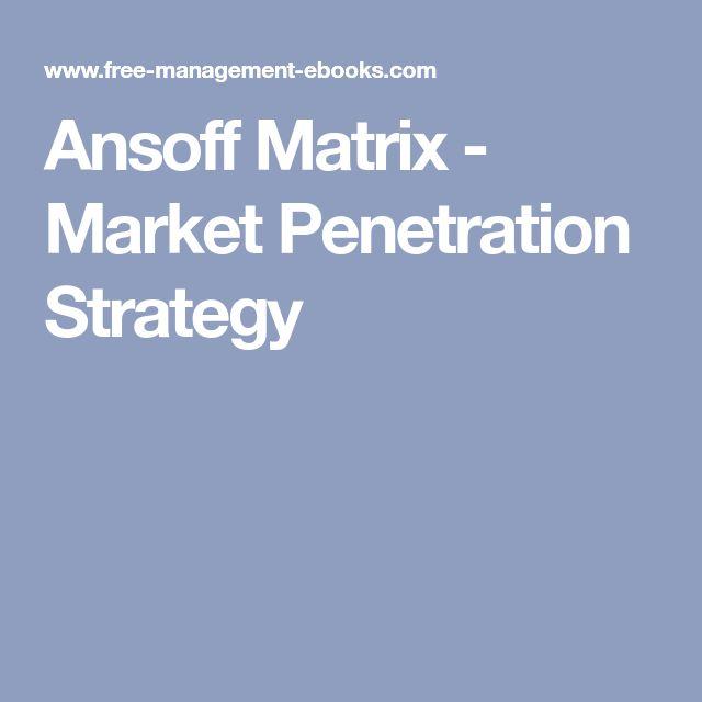 Ansoff Matrix - Market Penetration Strategy