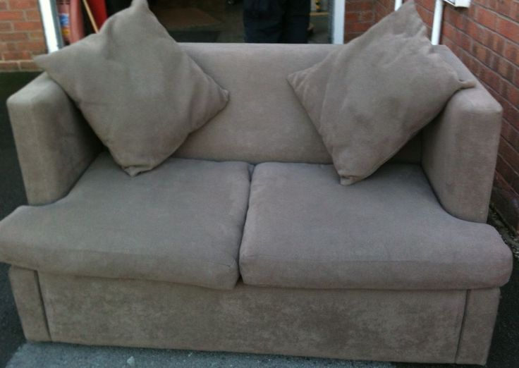 Sofa Bed, 2 seater sofa with large single bed on Gumtree. This 2 seater sofa bed is in light brown material and very substantially made. The fold away sectio