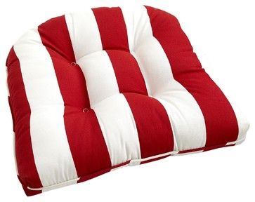 Cabana Stripe Cushion, Tomato - Traditional - Seat Cushions - by ...
