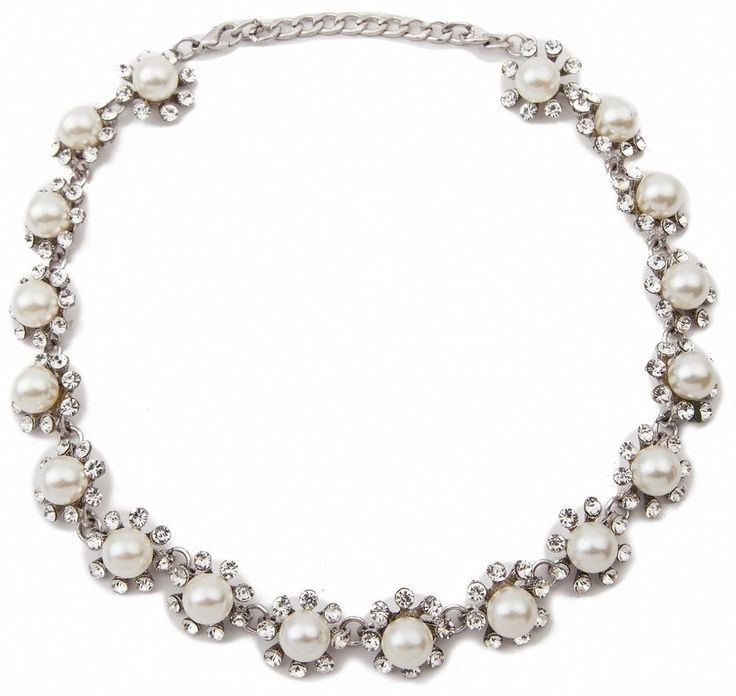 New Fashion Noble Elegant Pearl Silver Rhinestone Ball Collar Bib Necklace #Unbranded #Charm