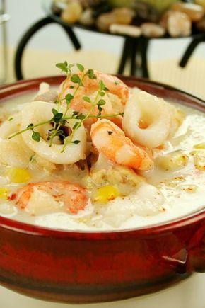 Seafood Chowder Recipe - creamy soup with shrimp, scallops, crab, calamari, clams, potatoes, carrots, and corn.
