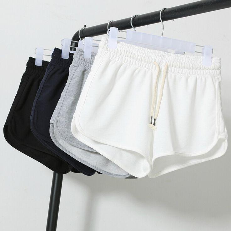 2017 Moda de La Calle Summer Shorts Mujeres Cintura Elástica Pantalones Cortos Pantalones de Las Mujeres Del Todo-Fósforo Flojo Sólido Soft Cotton Casual Corto Femme