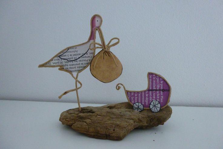 Cigogne et bébé - figurine en ficelle et papier : Accessoires de maison par ficelleetpapier