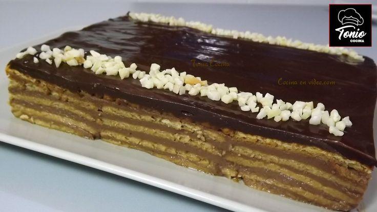 Tarta de la ABUELA con galletas y crema de CHOCOLATE
