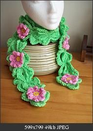 """Blossom Festival Scarf   free #crochet #scarf patterns  Materials: WW yarn—green + pink. I/5.5mm & J/6.mm hook   scarf is about 66"""" long"""
