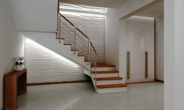 Trójwymiarowy panel, biała ściana, dekoracja ścienna. Zobacz więcej na: https://www.homify.pl/katalogi-inspiracji/22986/czym-wylozyc-sciany-6-ciekawych-propozycji