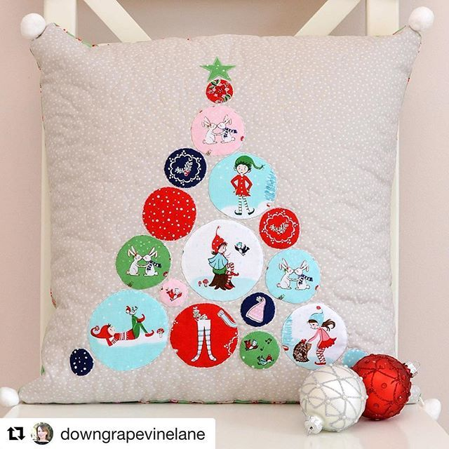 #Repost @downgrapevinelane with @repostapp ・・・ My stop on the Pixie Noel blog hop today, for which I made this Christmas tree cushion ❤️🎄 For more details and a how-to for the appliqué baubles visit my blog (link in bio). Congrats @tashanoel1 on another gorgeous collection! #pixienoelfabric #pixienoel #tashanoel #rileyblakedesigns #iloverileyblake #fabricismyfun #cushion #christmas #applique #quilting #sewing