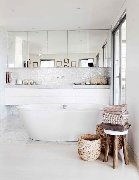 Mosaic Tiles, Mirrored Cupboards, Floating Vanity, Free Standing Bath  Without A Shower