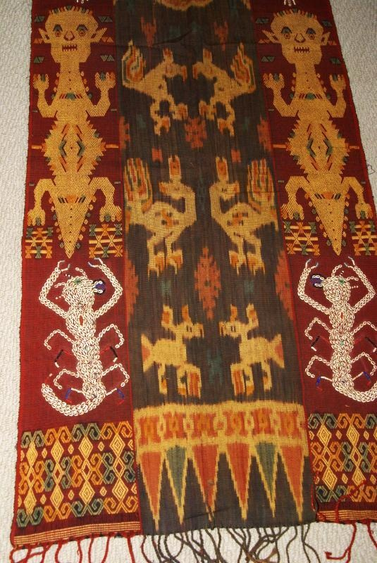 Collector Handspun Handwoven Sumba Hinggi Warp Ikat 8 ft Tapestry Waeo Songket