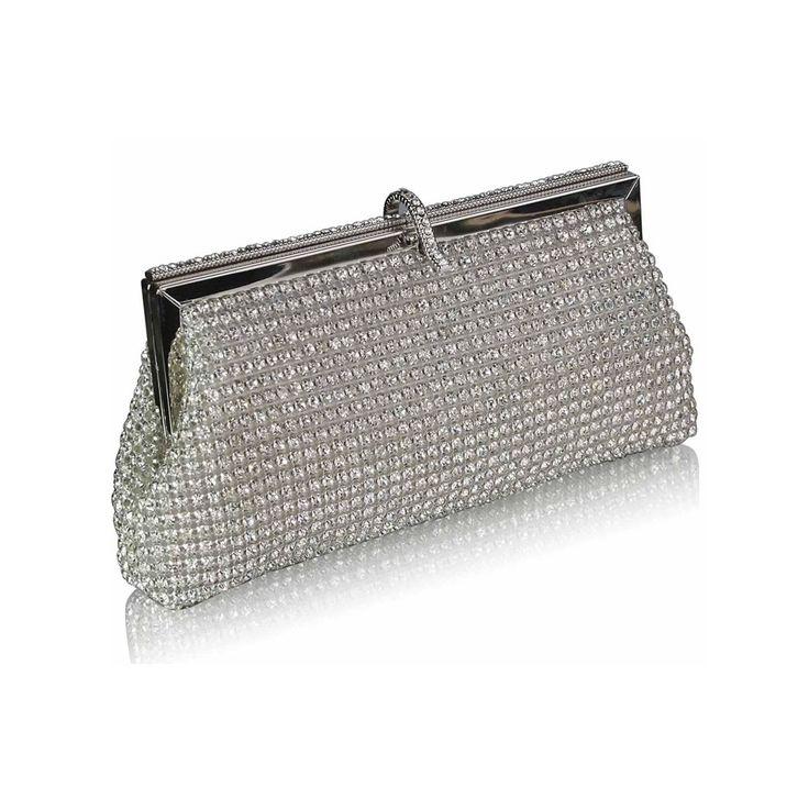 Poșetă de seară clutch decorată cu cristale argintii