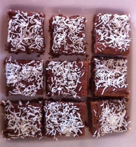 I made this yesterday. It's so quick and easy! Chocolate Slice Recipe from the Local Community Paper   125g butter (melted) 1 cup desiccated coconut 3/4 cup of sugar 1 cup self-raising f…