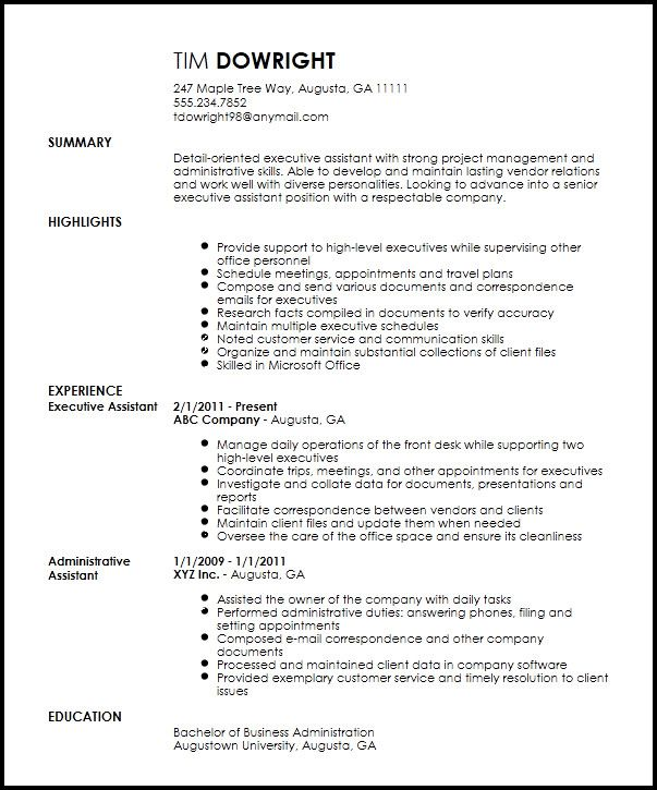 Professional Executive Assistant Administrative Assistant Resume Executive Resume Template Resume Template