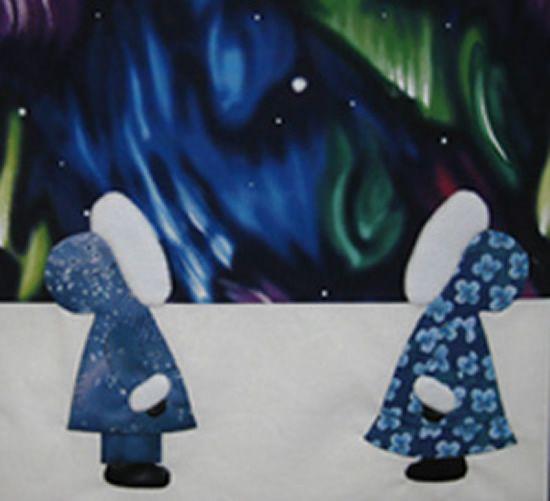 Sunbonnet Sue in Alaska quilt block: Northern Lights