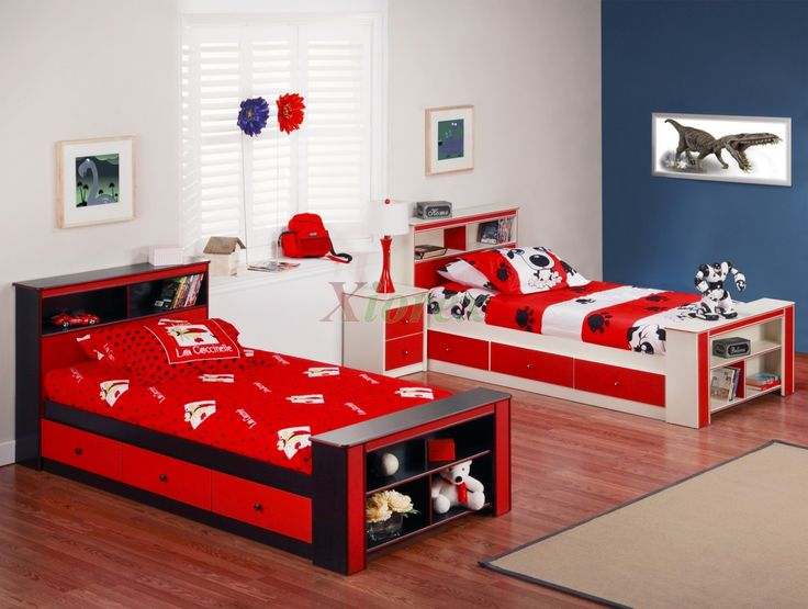 Lovely Twin Furnitures Set For Shared Kids Bedroom With Bookcase Bed In Red Black And