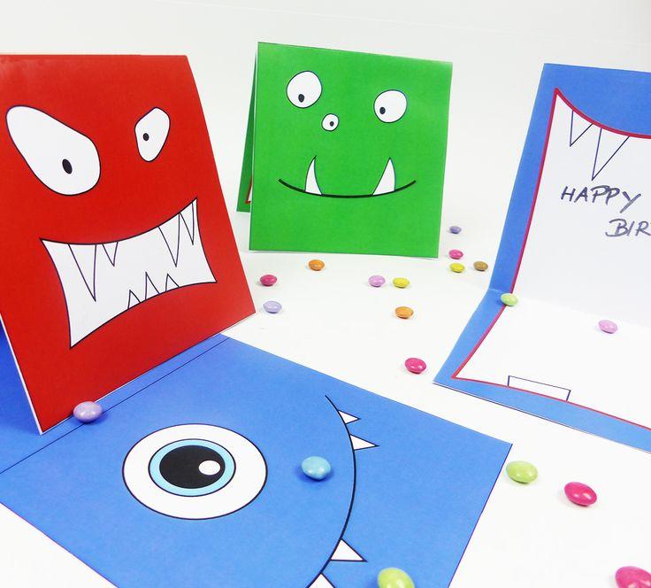 Monster Karten  Diese 3 Monster verteilen Freude als bunte Einladungs-, Gruß- oder Gutschein- Monster Karten: Einfach ausdrucken, ausschneiden & zusammenkleben!  Schau schnell vorbei auf balloonas.com und lade Dir die Vorlage gleich herunter.    balloonas.com/shop      #kindergeburtstag #motto #mottoparty #party #kinder #geburtstag #kids #birthday #idea #diy #printout #download #vorlage#monster #invitation #einladung #gutschein #karte