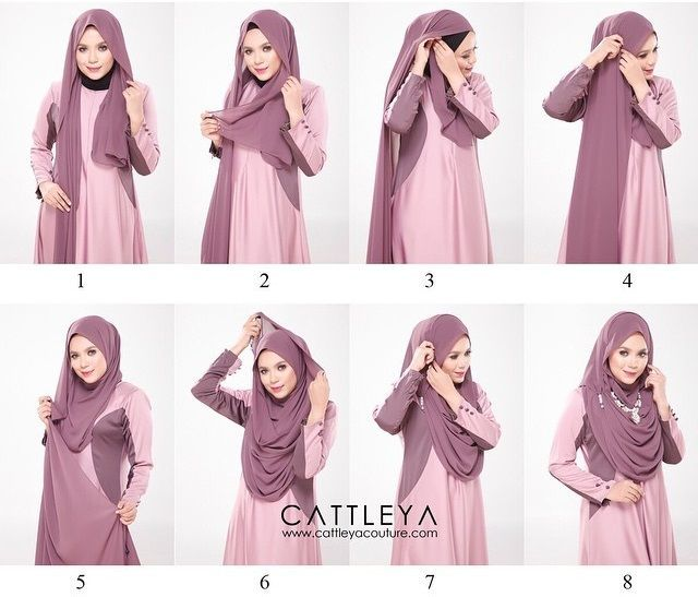This is a modest and beautiful full chest coverage hijab tutorial, looking gorgeous, flowing and covering almost all the chest area. Here are the steps for this look: Place the hijab on your head with long & short sides Take - Hijab Tutorials