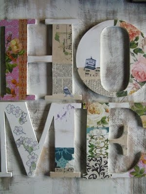 Lovely Letters for Lydia's wall    Letras decoupage