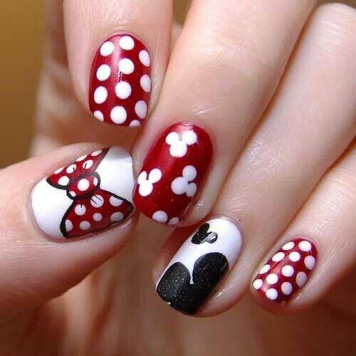 Minnie Mouse nails! Thumb mickey shorts Yellow nail  Mickey head black/white Minnie bow red/white Black nail