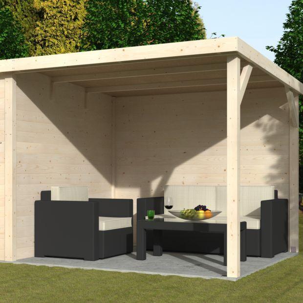 abri de jardin bois toit plat auvent