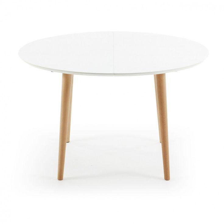 Kave Home uitschuifbare eettafel \u0027Oqui\u0027 (120 - 200), kleur wit