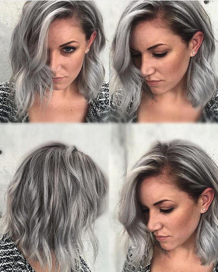 Grunge hairstyle and moody silver hair color by Rickey Zito gray hair granny hair lib haircut hotonbeauty.com