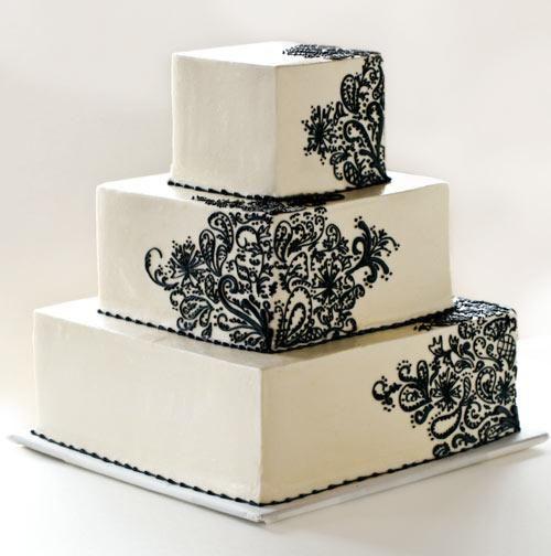 cake: Lace Cakes, Cakes Ideas, Henna Cake, Decor Cakes, Black And White, White Weddings, Cakes Design, White Cakes, White Wedding Cakes