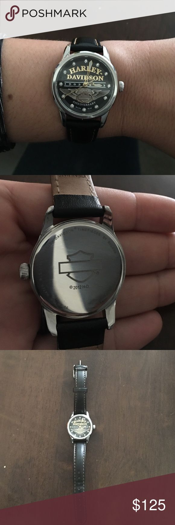 Harley Davidson watch Bulova Harley Davidson 110 year anniversary watch! Really good condition. Leather band! Offers accepted...no low balls please. Harley-Davidson Accessories Watches