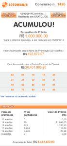 Lotomania 1426 – resultado do sorteio de hoje, 12/02/2014