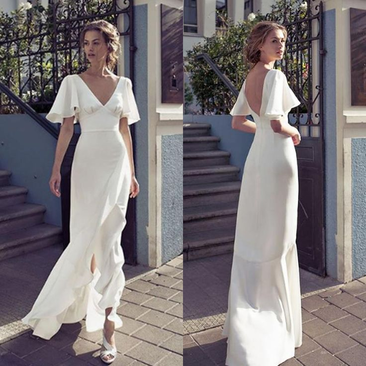 2019 V Neck Sheath Wedding Dresses Front Split Backless Bridal Dress Floor Length Wedding Dresses Custom