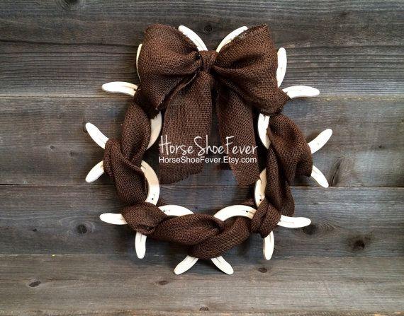 Burlap Horseshoe Wreath. Rustic Home Decor, Western Home Decor, Country Home Decor, Cabin Decor, Lodge, Cowgirl, Cowboy, Barbwire, Ranches, Farm, Gifts, Interior Accents. Horseshoe Decor, Horse Art. Welded Art. HorseShoeFever, Etsy, Etsy Shop.