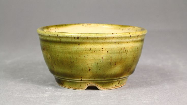 "Forest Green 3.5"" Round Mame Bonsai Pot by Ashley Keller"