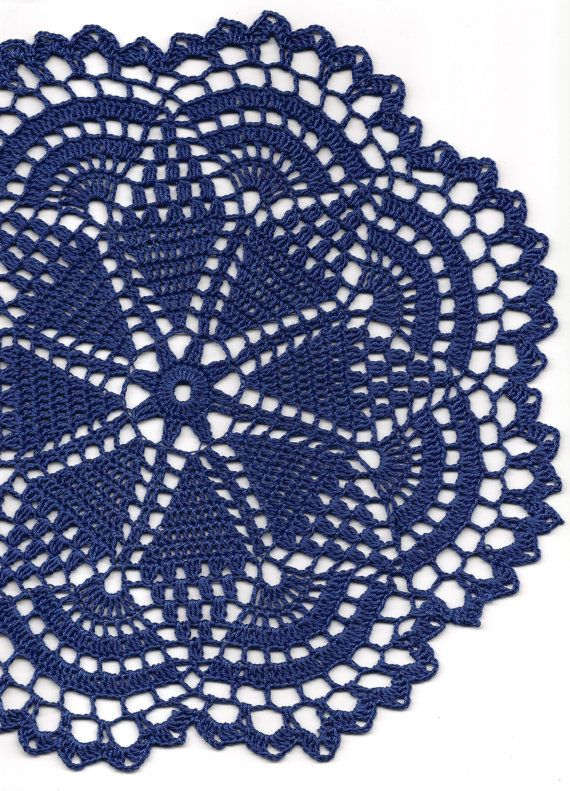 Crochet doily, lace doily, table decoration, crocheted place mat, doily tablecloth, table runner, napkin, navy blue