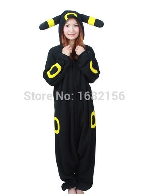 Cartoon Pokemon Pikachu Pajamas Black Umbreon Onesie Adult Pyjama Cosplay Costume Sleepwear