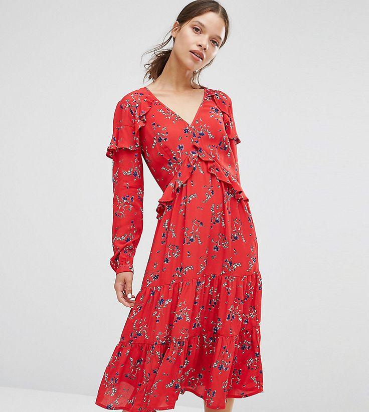 ASOS PETITE V Neck Ruffle Midi Dress In Vintage Floral - Multi
