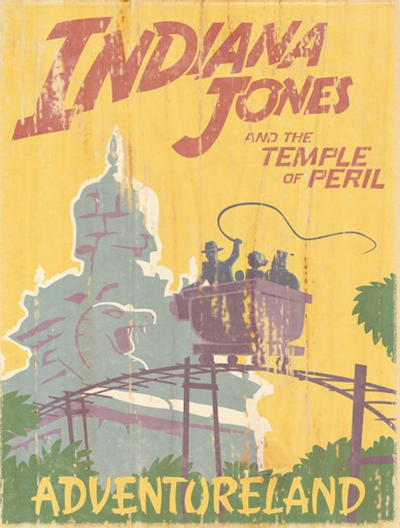 Indiana Jones and the Temple of Peril Add a bit of magic to any room with this print modeled after the attraction posters showcased in Disneyland