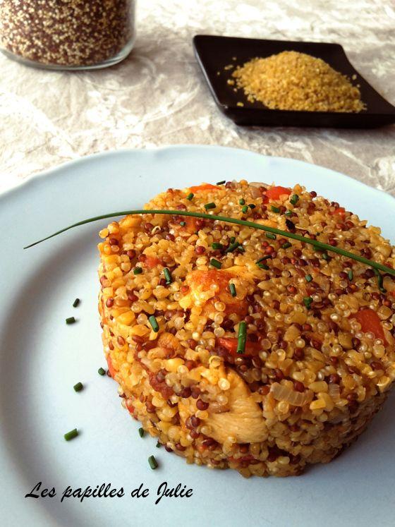Risotto quinoa boulgour au poivron et poulet