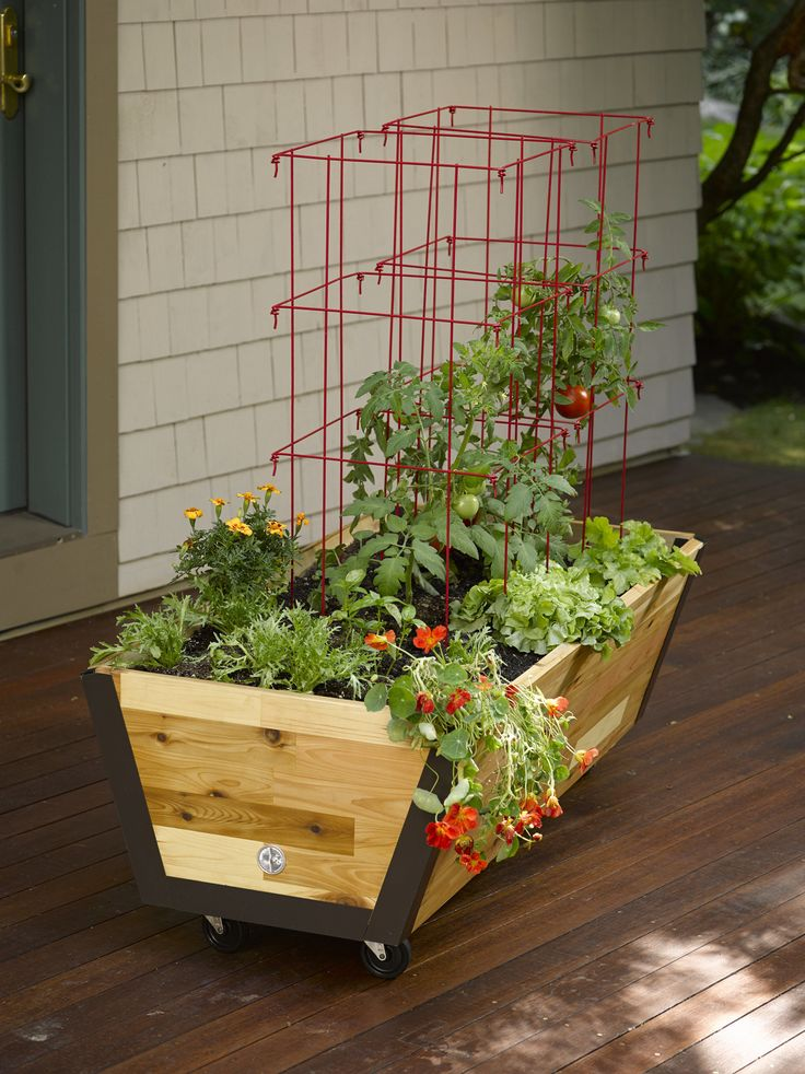 Rolling Planter Box: U-Garden Bed on Wheels |        Long-lasting, butcher block cedar with lifetime aluminum corners. 2' x 4' planting box. Casters make it mobile on patio or deck. Made in Vermont by Gardener's Supply - Gardeners.com