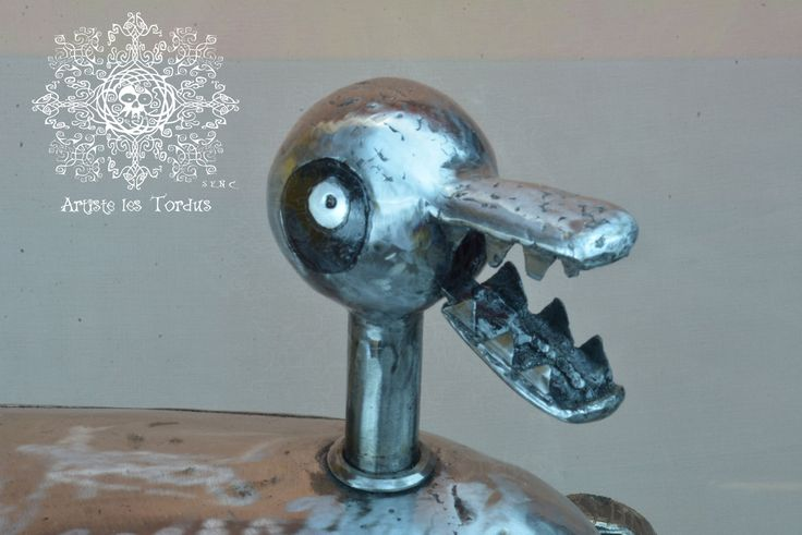 Metal welded sculpture Replica of the Duck Toy in the movie Nightmare before Christmas.