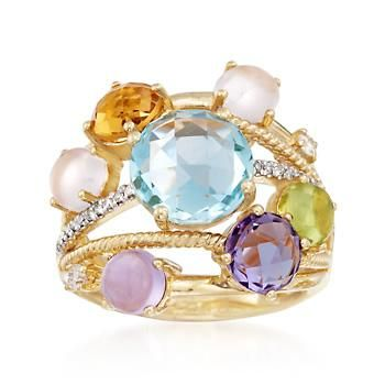 The ring reinvents the highway style with multi-stones and .15 ct. t.w. diamonds. Rose quartz and 5.30 ct. tot. gem wt. of citrine, blue topaz, peridot and amethyst create a shining mix of pastels on polished and roped bands. 18kt yellow gold over sterling silver ring. Free shipping & easy 30-day returns. Fabulous jewelry. Great prices. Since 1952.