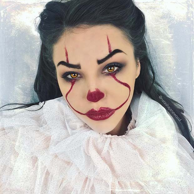 23 Modisches Clown-Makeup Ideen für Halloween 2018
