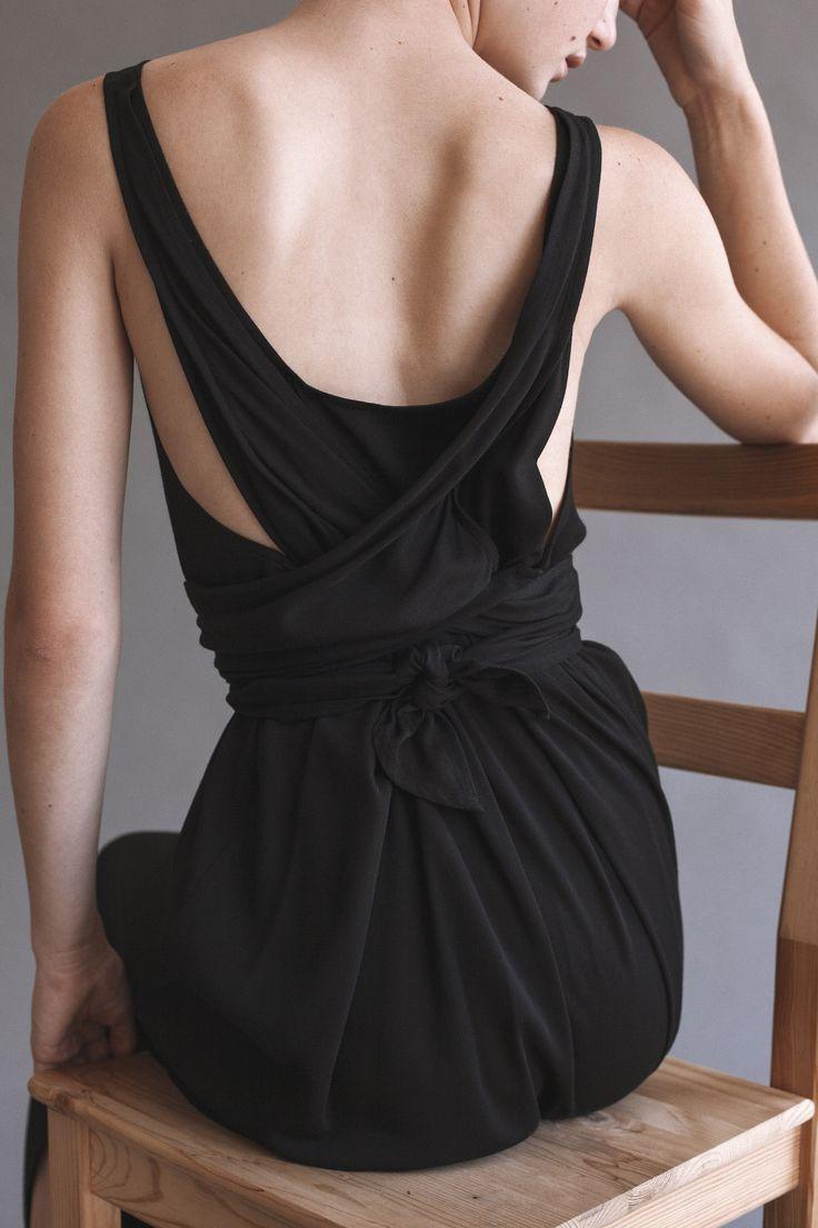 Black tie back dress; chic contemporary fashion details // Shaina Mote