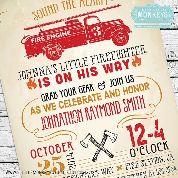 This vintage-inspired Firefighter Baby Shower Invitation is perfect for mommies-to-be and junior firefighters who are on their way. Features