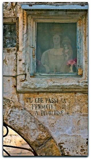 """You who pass stop in devotion"" - the words I can make out - San Gimignano Tuscany, Italy"