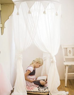 I like the triangles along the top. Everyday Art: DIY bed canopy for little girls room