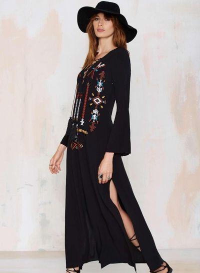 V Neck Flare Sleeve Side High Split Dress - OASAP.com