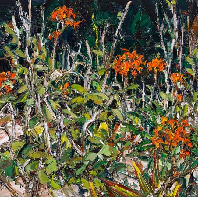© Nicholas Harding ~ Wooli Garden (crucifix orchids 4) ~ 2013 oil on linen at Olsen Irwin Gallery Sydney Australia